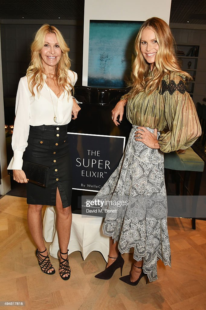 Melissa Odabash (L) and Elle Macpherson attend The Super Elixir 1st anniversary dinner at The Grace Restaurant at Grace Belgravia on October 27, 2015 in London, England.