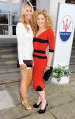 Melissa Odabash and Kelly Hoppen attend a VIP dinner hosted by Maserati to unveil the new 'Quattroporte' at The Hurlingham Club on April 17 2013 in...