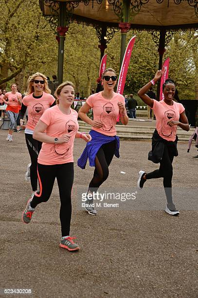 Melissa Odabash guest Vogue Williams and AJ Odudu run in the Lady Garden 5K Fun Run in aid of Silent No More Gynaecological Cancer Fund in Battersea...