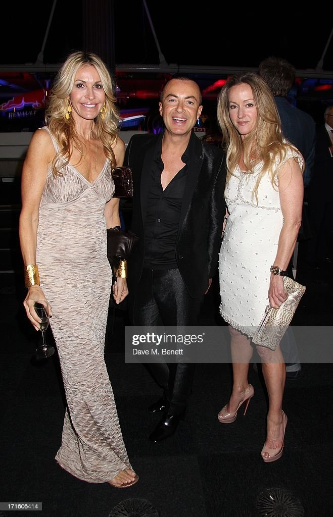 Melissa Odabash, Julien Mcdonald and Alison Henry attend the F1 Party in aid of great ormond street hospital childrens charity at Old Billingsgate Market on June 26, 2013 in London, England.