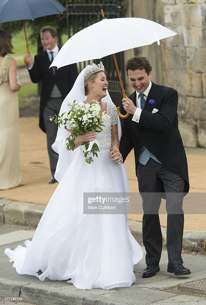 Melissa Percy and Thomas van Straubenzee after their wedding at Alnwick Castle on June 22, 2013 in Alnwick, England.