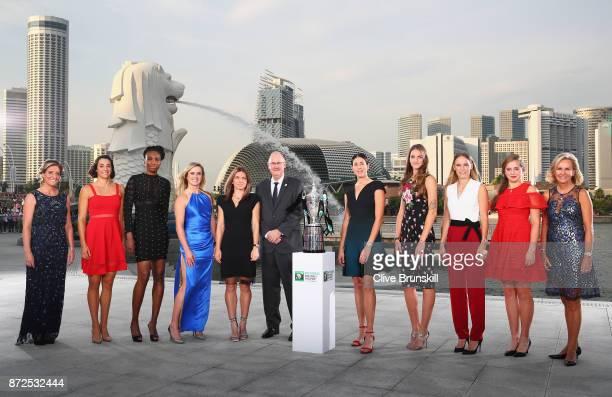 Melissa Pine WTA Finals Tournament Director Caroline Garcia Venus Williams Elina Svitolina Simona Halep Steve Simon WTA CEO Garbine Muguruza Karolina...