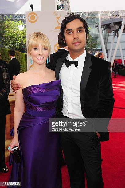 Melissa Rauch and Kunal Nayyar from The Big Bang Theory on the red carpet for the 65th Primetime Emmy Awards which will be broadcast live across the...