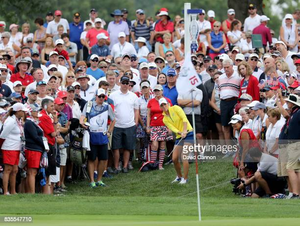 Melissa Reid of England and the European Team plays her third shot on the 15th hole in her match with Emily Pedersen against Paula Creamer and Austin...