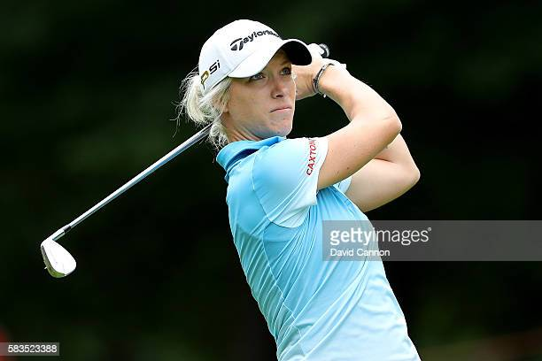 Melissa Reid of England hits an approach shot during a ProAm round ahead of the Ricoh Women's British Open at Woburn Golf Club on July 26 2016 in...