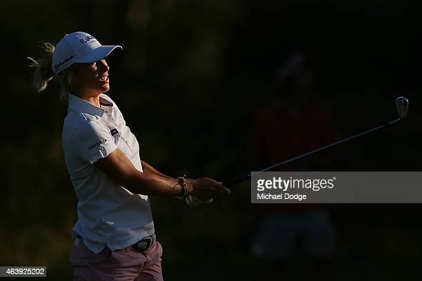 Melissa Reid of England hits an approach shot to the 6th hole during day two of the LPGA Australian Open at Royal Melbourne Golf Course on February...