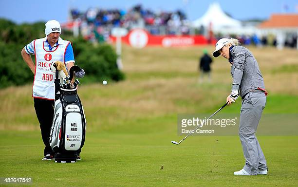 Melissa Reid of England hits her 2nd shot on the 1st hole during the Third Round of the Ricoh Women's British Open at Turnberry Golf Club on August 1...