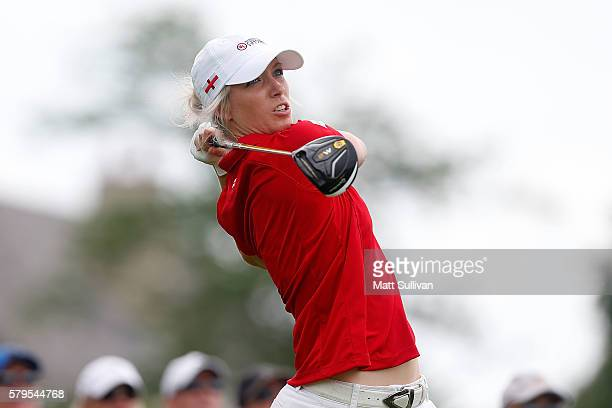 Melissa Reid of England hits her tee shot on the fourth hole during the singles matches of the 2016 UL International Crown at the Merit Club on July...