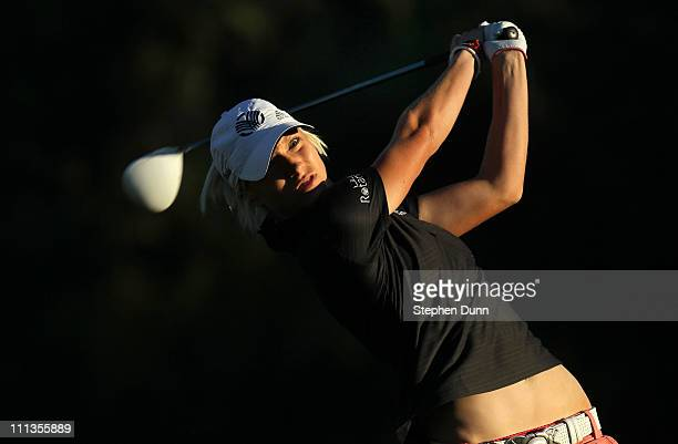 Melissa Reid of England hits her tee shot on the second hole during the second round of the Kraft Nabisco Championship at Mission Hills Country Club...