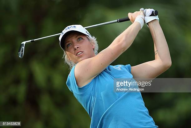 Melissa Reid of England hits her teeshot on the second hole during the first round of the HSBC Women's Champions at Sentosa Golf Club on March 3 2016...