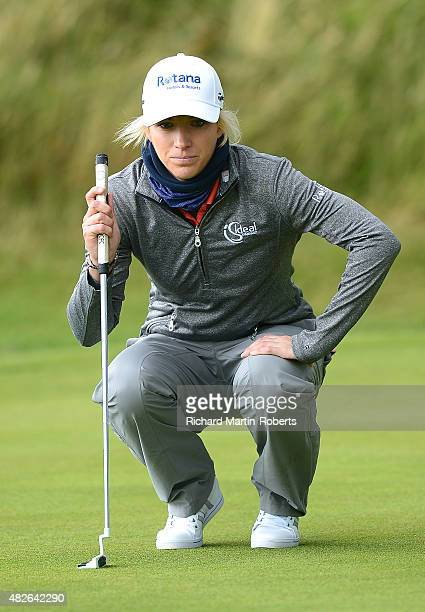 Melissa Reid of England lines up a putt on the 5th green during the Third Round of the Ricoh Women's British Open at Turnberry Golf Club on August 1...