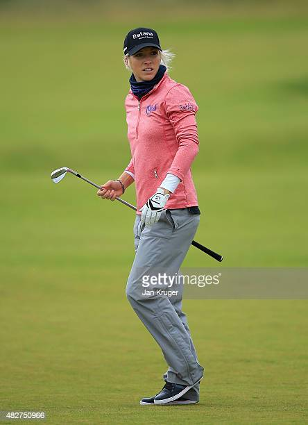 Melissa Reid of England looks down the 5th hole during the Final Round of the Ricoh Women's British Open at Turnberry Golf Club on August 2 2015 in...