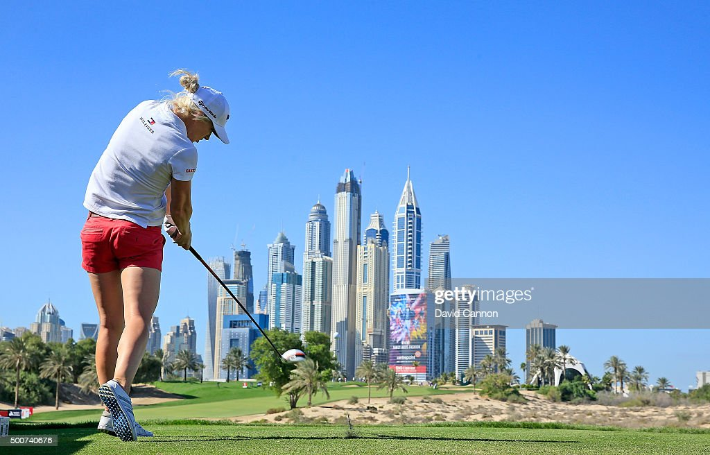 <a gi-track='captionPersonalityLinkClicked' href=/galleries/search?phrase=Melissa+Reid&family=editorial&specificpeople=807482 ng-click='$event.stopPropagation()'>Melissa Reid</a> of England plays her tee shot on the par 4, eighth hole during the second round of the 2015 Omega Dubai Ladies Masters on the Majlis Course at The Emirates Golf Club on December 10, 2015 in Dubai, United Arab Emirates.