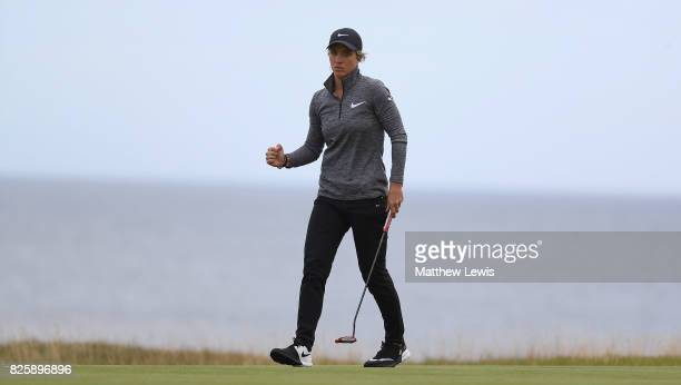 Melissa Reid of England reacts to a putt on the 17th green during the first round of the Ricoh Women's British Open at Kingsbarns Golf Links at...