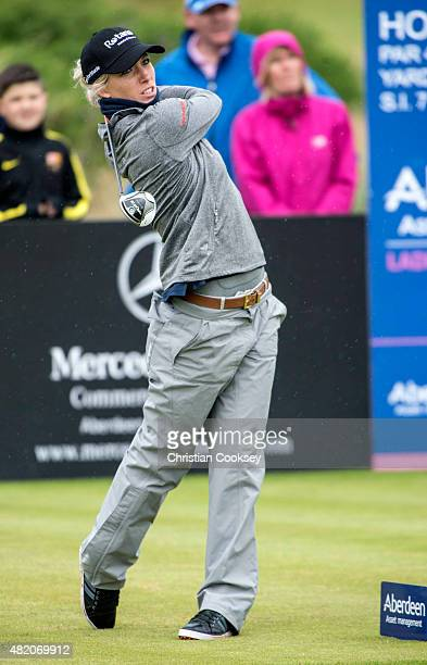 Melissa Reid of England tees of at the 17th during the final round Aberdeen Asset Management Scottish Ladies Open at Dundonald Links Golf Course on...