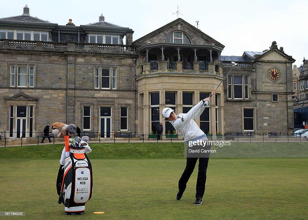 <a gi-track='captionPersonalityLinkClicked' href=/galleries/search?phrase=Melissa+Reid&family=editorial&specificpeople=807482 ng-click='$event.stopPropagation()'>Melissa Reid</a> of England tees off at the first hole during the 2013 Ricoh Women's British Open Press Day on the Old Course at St Andrews, Scotland.