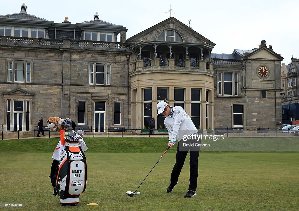 Melissa Reid of England tees off at the first hole during the 2013 Ricoh Women's British Open Press Day on the Old Course at St Andrews, Scotland.