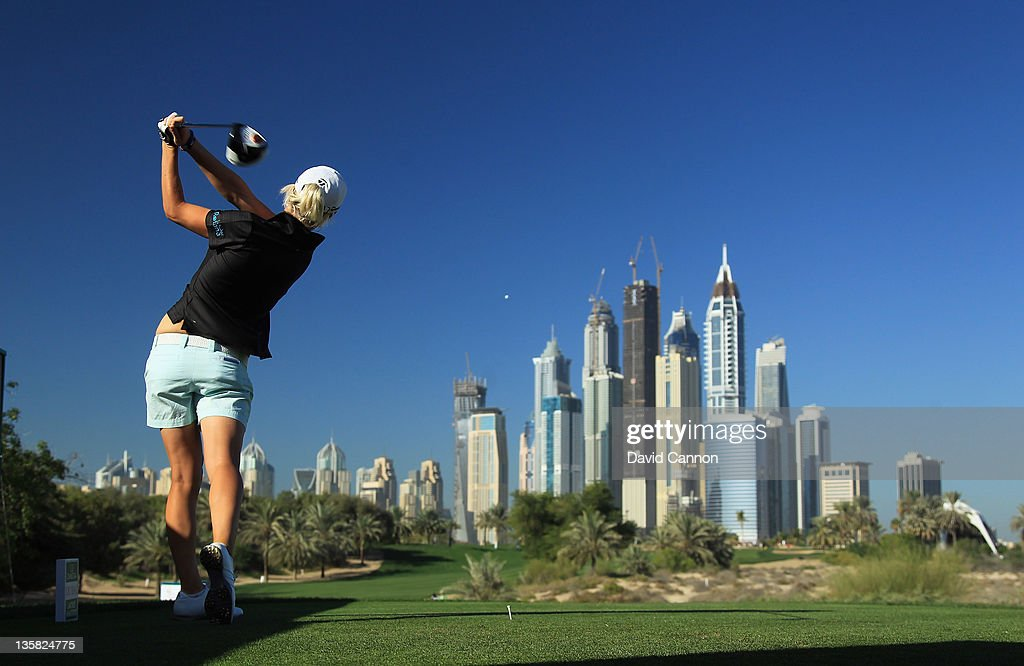 Melissa Reid of England tees off at the par 4 8th hole during the second round of the 2011 Omega Dubai Ladies Masters on the Majilis Course at the...