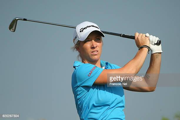 Melissa Reid of England tees off on the 18th hole during the first round of the Fatima Bint Mubarak Ladies Open at Saadiyat Beach Golf Club on...