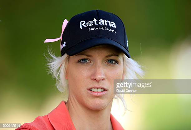 Melissa Reid of England waits to play her second shot on the par 4 14th hole during the third round of the 2015 Omega Dubai Ladies Masters on the...