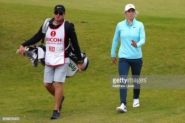 Melissa Reid of England walks down the 4th hole during the third round of the Ricoh Women's British Open at Kingsbarns Golf Links on August 5 2017 in...