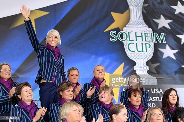 Melissa Reid of Europe is introduced during the opening ceremony prior to the 2011 Solheim Cup at Killeen Castle Golf Club on September 22 2011 in...