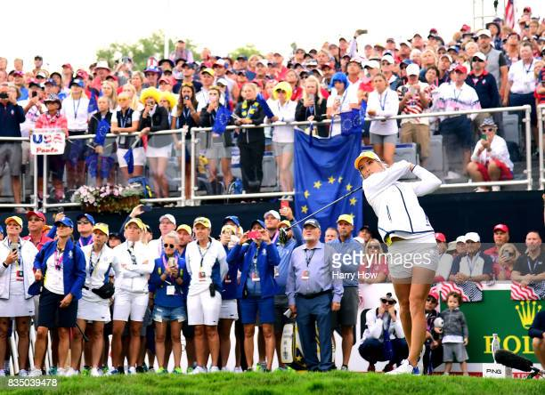 Melissa Reid of Team Europe hits the opening shot during the morning foursomes matches of the Solheim Cup at the Des Moines Golf and Country Club on...