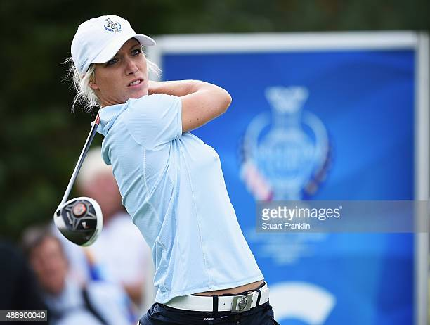 Melissa Reid of team Europe plays a shot during the afternoon fourball matches at The Solheim Cup at St LeonRot Golf Club on September 18 2015 in St...