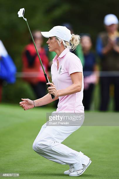 Melissa Reid of team Europe reacts to a putt during the morning foursomes matches at The Solheim Cup at St LeonRot Golf Club on September 19 2015 in...