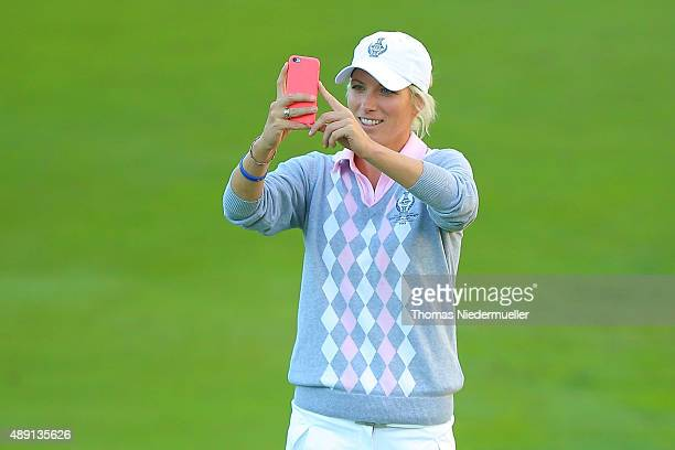 Melissa Reid of the European Team looks on during the afternoon fourball matches in the 2015 Solheim Cup match at St LeonRot Golf Club on September...