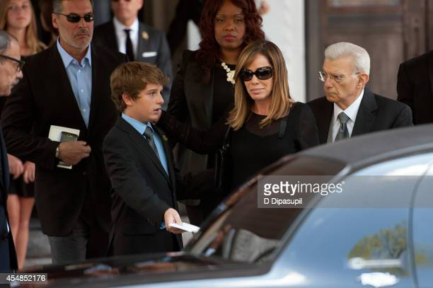 Melissa Rivers and son Cooper Endicott attend the Joan Rivers memorial service at Temple EmanuEl on September 7 2014 in New York City Rivers passed...