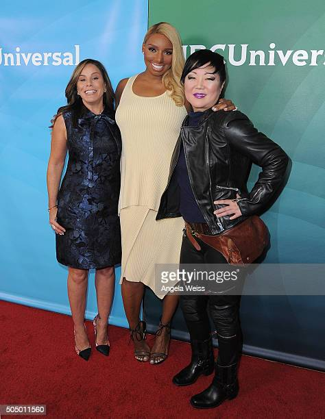Melissa Rivers NeNe Leakes and Margaret Cho arrive at the 2016 Winter TCA Tour NBCUniversal Press Tour Day 2 at Langham Hotel on January 14 2016 in...