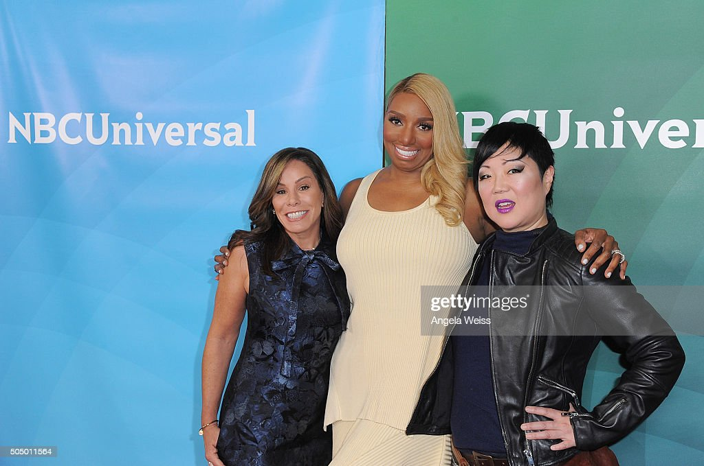 Melissa Rivers, NeNe Leakes and Margaret Cho arrive at the 2016 Winter TCA Tour - NBCUniversal Press Tour Day 2 at Langham Hotel on January 14, 2016 in Pasadena, California.