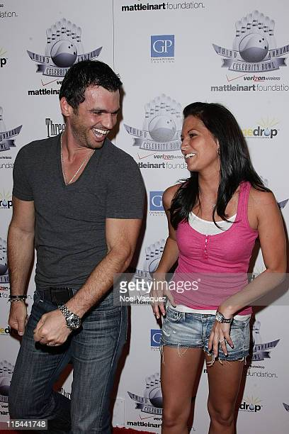 Melissa Rycroft and Tony Dovolani attend the 3rd annual Matt Leinart Foundation celebrity bowl at Lucky Strike Bowling Alley on July 13 2009 in...