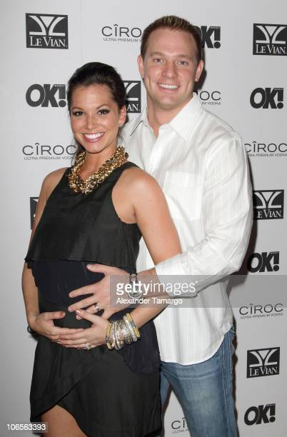Melissa Rycroft and Tye Strickland arrive at OK Magazine Fifth Anniversary Celebration at Louis at Gansevoort South on November 4 2010 in Miami Beach...