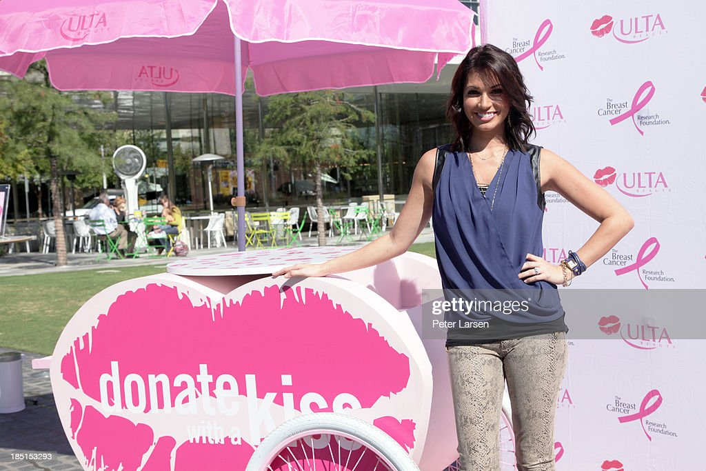 <a gi-track='captionPersonalityLinkClicked' href=/galleries/search?phrase=Melissa+Rycroft&family=editorial&specificpeople=5761590 ng-click='$event.stopPropagation()'>Melissa Rycroft</a> hosts the ULTA Beauty Kiss Kart which supports The Breast Cancer Research Foundation at Klyde Warren Park on October 17, 2013 in Dallas, Texas.