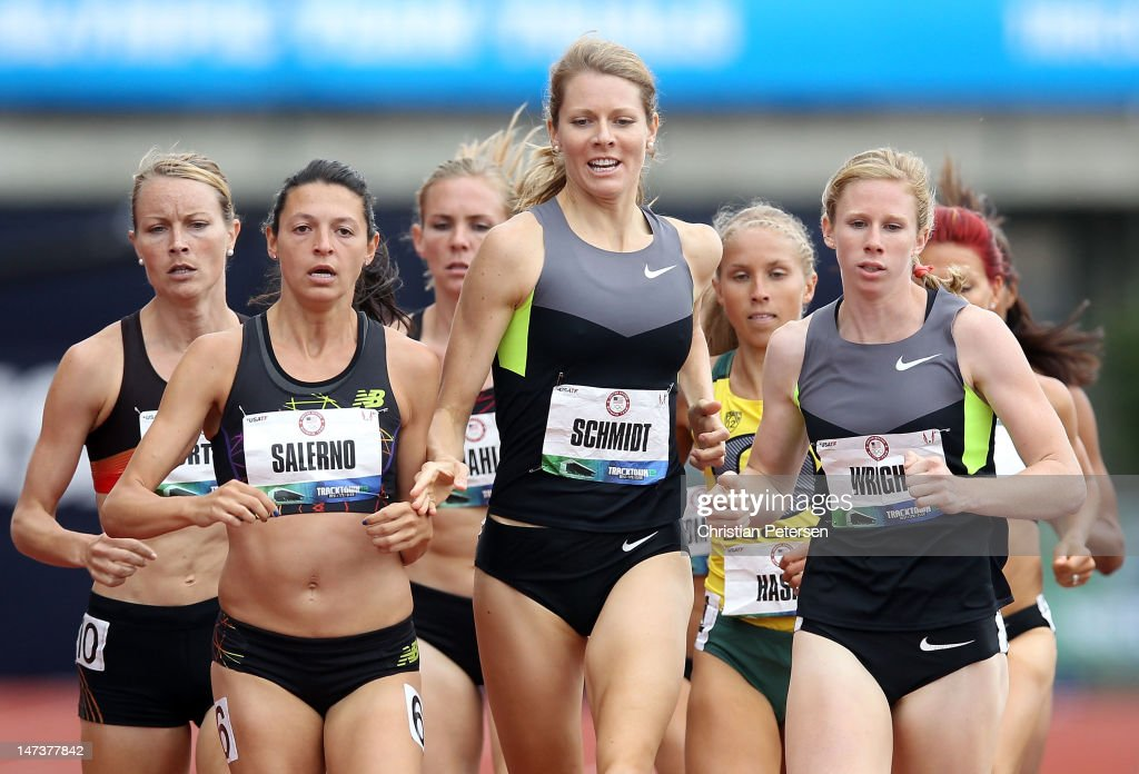 Melissa Salerno, Alice Schmidt and Phoebe Wright compete in the Women's 1500 Meter Run on day seven of the U.S. Olympic Track & Field Team Trials at the Hayward Field on June 28, 2012 in Eugene, Oregon.