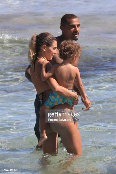 Melissa Satta and husband Kevin Prince Boateng with son are seen on June 9 2017 in Ibiza Spain