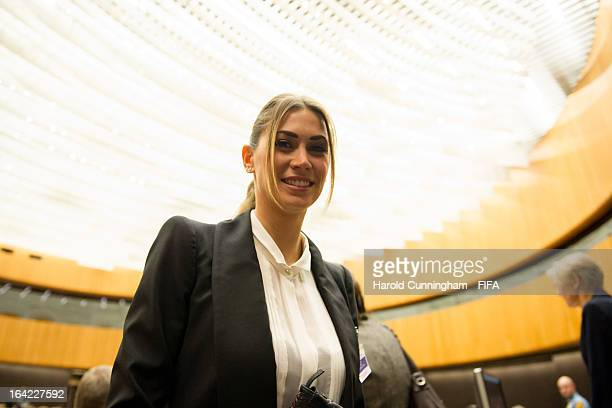 Melissa Satta girlfriend of footballer KevinPrince Boateng of AC Milan looks on during the discussion panel on the International Day for the...