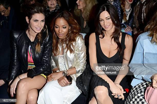 Melissa Satta guest and Manuela Arcuri attend the Just Cavalli fashion show during Milan Fashion Week Womenswear Fall/Winter 2013/14 on February 21...