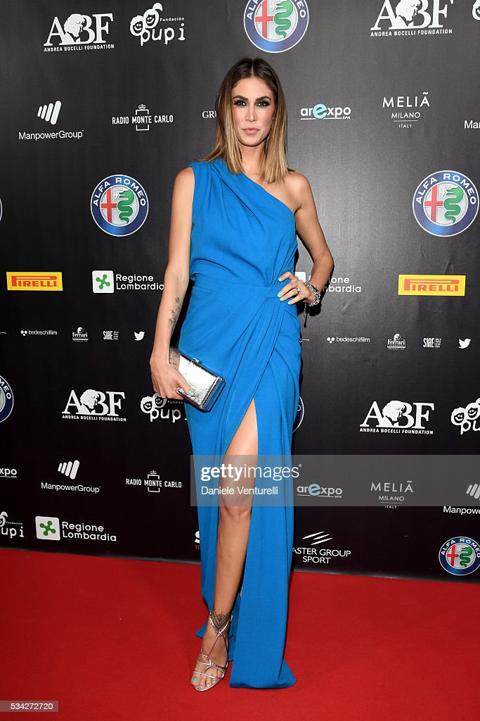 Melissa Satta walks the red carpet of Bocelli and Zanetti Night on May 25, 2016 in Rho, Italy.
