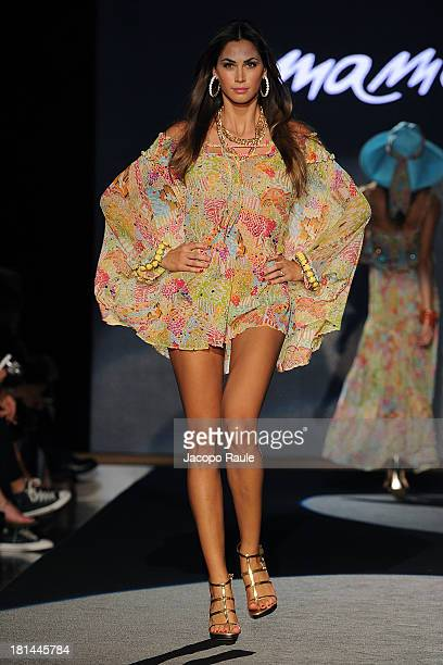Melissa Satta walks the runway during the Emamo fashion show as a part of Milan Fashion Week Womenswear Spring/Summer 2014 on September 21 2013 in...
