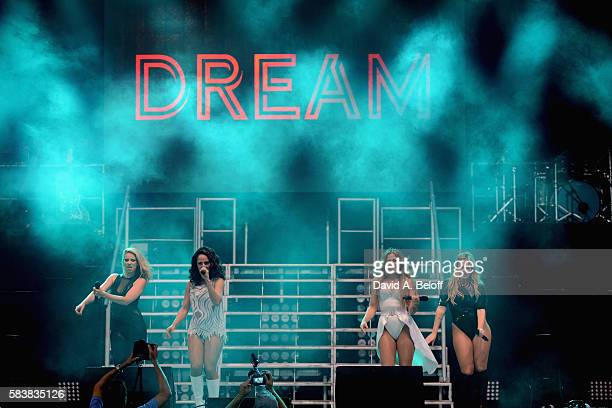 Melissa Schuman Holly BlakeArnstein Diana Ortiz and Ashley Poole of Dream perform live in concert at Portsmouth Pavilion on July 26 2016 in...