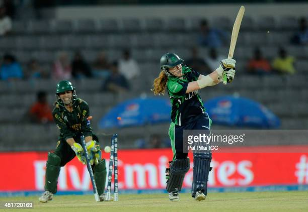 Melissa Scott Hayward of Ireland gets bowled out by Anam Amin of Pakistan during the ICC Women's World Twenty20 match between Pakistan Women and...