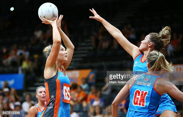 Melissa Tallent of Canberra shoots for goal during round one of the ANL match between Canberra Giants and Netball NSW Waratahs at Sydney Olympic Park...