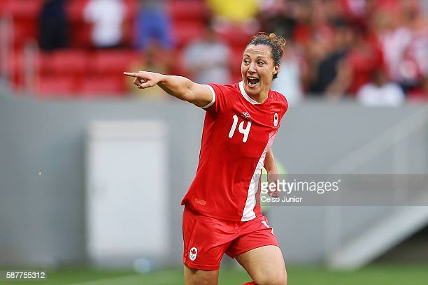 Melissa Tancredi of Canada celebrates scoring her team's first goal during the Women's First Round Group F match between Germany and Canada on Day 4...