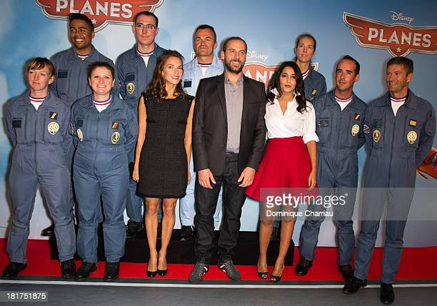 Melissa Theuriau Fred Testot and Leila Bekhti and the French Air Patrol attend the 'Planes' Paris Premiere At UGC Normandie on September 24 2013 in...