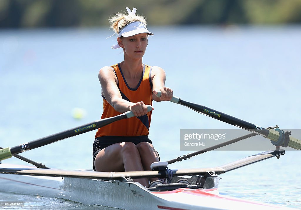 Melissa Torstonson of Hauraki Plains College races in the Girls U18 single sculls during the New Zealand Junior Rowing Regatta on February 23, 2013 in Auckland, New Zealand.
