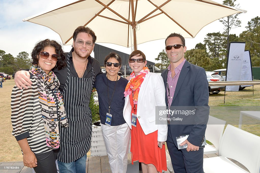 Melissa Tripoli, chef Scott Conant, Charlene Repko, Group Advertising Director, Hearst Magazines, Heather Eby, Manager, Regional Marketing & Auto Shows, Infiniti, and Craig Margolius, Senior Manager, Global Strategy and Brand Engagement, Infiniti, attend day 4 of Moments of Inspiration presented by Infiniti in partnership with Hearst Magazines on August 18, 2013 in Pebble Beach, California.