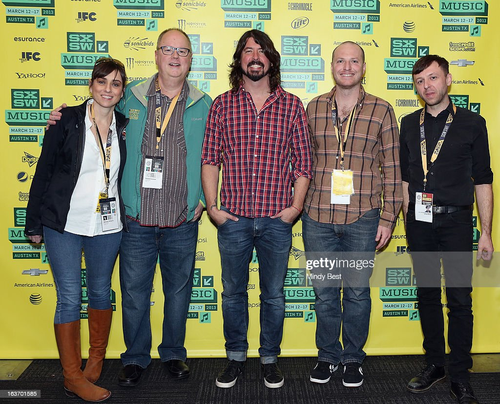 Melissa Williams, Roland Swenson, musician <a gi-track='captionPersonalityLinkClicked' href=/galleries/search?phrase=Dave+Grohl&family=editorial&specificpeople=202539 ng-click='$event.stopPropagation()'>Dave Grohl</a>, Darin Klein and James Minor at SXSW Keynote: <a gi-track='captionPersonalityLinkClicked' href=/galleries/search?phrase=Dave+Grohl&family=editorial&specificpeople=202539 ng-click='$event.stopPropagation()'>Dave Grohl</a> during the 2013 SXSW Music, Film + Interactive Festival at Austin Convention Center on March 14, 2013 in Austin, Texas.